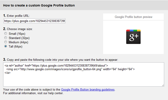 Google plus profile button